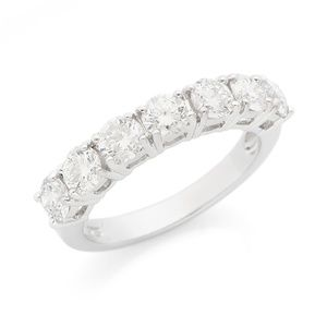 Silver Lab Grown Half Eternity Diamond  Ring